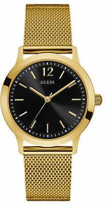 GUESS Analog Black Dial Goldtone Mesh Bracelet Watch