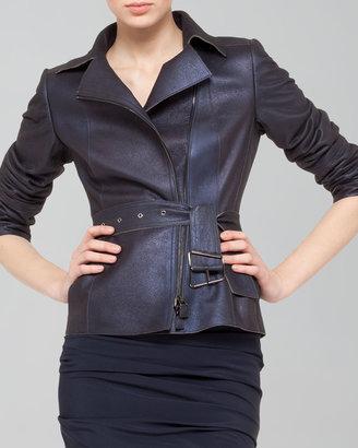 Akris Shimmer Suede Moto Jacket