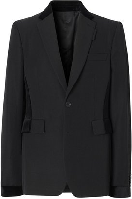 Burberry Classic Fit Velvet Trim Wool Tailored Jacket