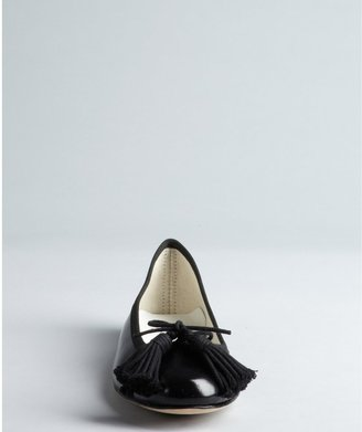 Repetto Black Shined Leather Tasseled Ballet Flats