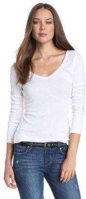 Michael Stars Women's Supima Long Sleeve Raw Edge V Neck Tee Shirt