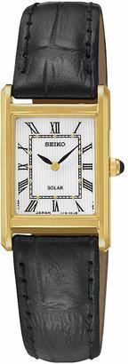Seiko Womens Black Leather Strap Solar Watch SUP250