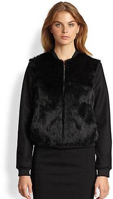 Diane von Furstenberg Carrington Rabbit Fur Combo Bomber Jacket