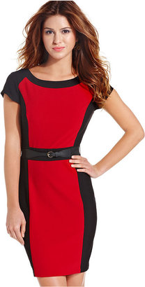Amy Byer BCX Dress, Short Sleeve Belted Colorblock Sheath