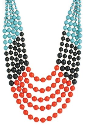 Z Designs Turquoise, Red & Black Bead Necklace
