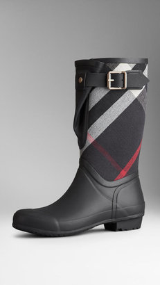 Burberry Check Panel Rain Boots