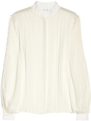 Oscar de la Renta Pleated silk-chiffon blouse