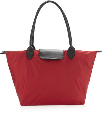 Neiman Marcus Lana Nylon Packable Tote Bag, Red