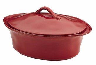 Rachael Ray Cucina Stoneware 3-1/2 qt. Oval Casserole in Cranberry Red