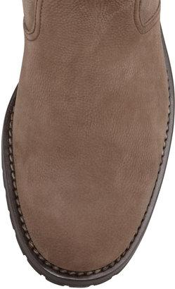 Manolo Blahnik Ermebor Studded-Top Flat Mid-Calf Boot