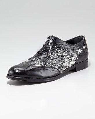 Dolce & Gabbana Sequined Patent Leather Lace-Up Oxford