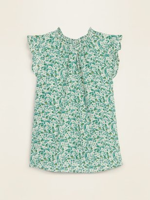 Old Navy Smocked-Neck Floral-Print Gauze Blouse for Women