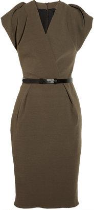La Petite S***** Belted stretch wool-blend crepe dress