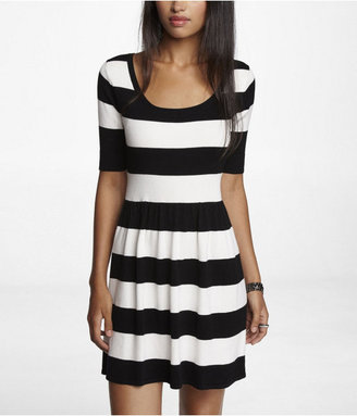 Express Striped Fit And Flare Sweater Dress