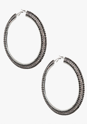 Bebe Three Row Stone Hoop Earrings