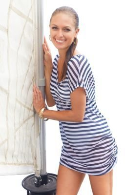 Anne Cole V-Neck & Shirred Striped Cover Up Tee