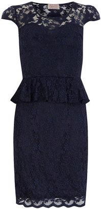 Dorothy Perkins Navy lace peplum dress