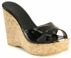 Jimmy Choo Perfume Patent Leather and Cork Wedge Sandals