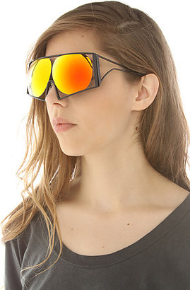 Linda Farrow Projects The Todd Lynn x Black Metal Oversized Sunglasses with Round Orange Revo Lens