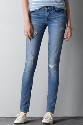 American Eagle Outfitters Medium Destroyed Wash Mid-Rise Super Skinny Jeans
