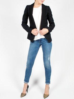 Vanessa Bruno Navy Crepe Sable Jacquard Fern Blazer