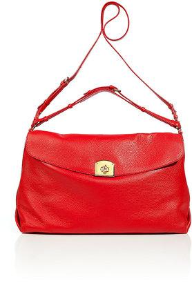 Sergio Rossi Flamenco Red Grainy Leather Satchel