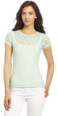 Only Hearts Club Women's Stretch Lace Cap Sleeve Crew Neck Tee