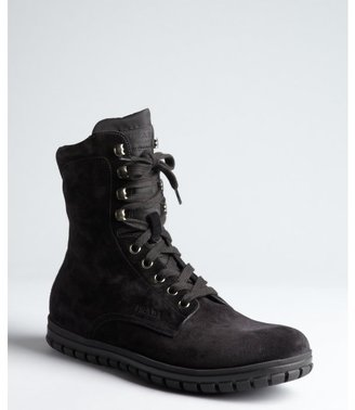 Prada Sport black suede lace up tall boots