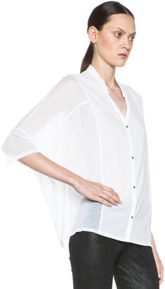 Helmut Lang Boxy Cotton Button Up Shirt in Optic White