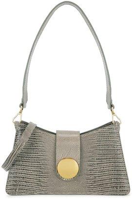 Elleme Baguette Grey Lizard-effect Leather Cross-body Bag