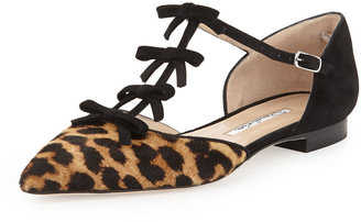Oscar de la Renta Evelyn Point-Toe Calf Hair Bow Flat, Leopard
