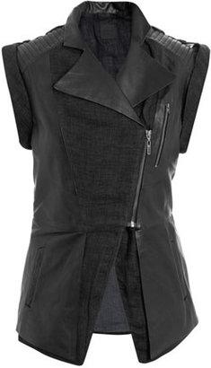 Leon Francis Callahan leather and linen gilet