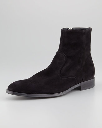 Salvatore Ferragamo Alciso Suede Zip Boot, Black