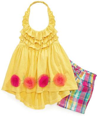 Nannette Kids Set, Little Girls 2-Piece Halter Top and Plaid Shorts