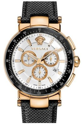 Versace 'Mystique Chrono' Leather Strap Watch, 46mm