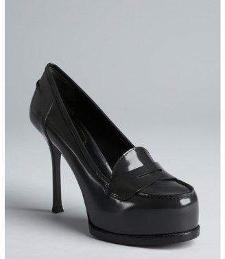 Yves Saint Laurent tar leather platform penny loafer pumps
