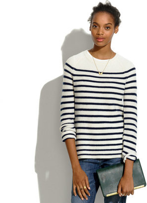 Madewell Elbow-Patch Stadium Sweater in Stripe