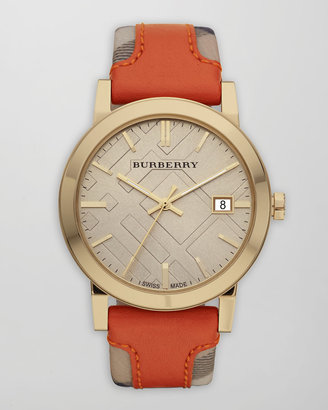 Burberry Check-Strap Watch, Orange