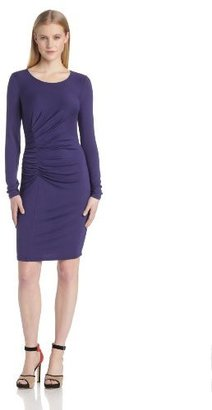Halston Women's Long Sleeve Crew Neck Knit Dress with Ruching Detail