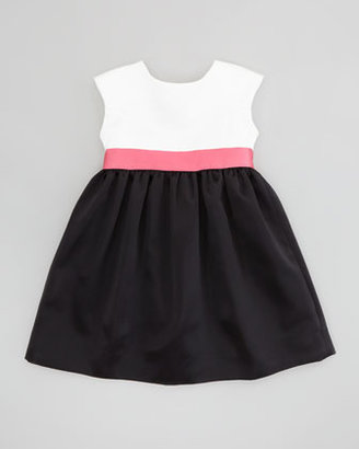 Milly Minis Colorblock Satin Party Dress, White/Pink/Black, Sizes 8-10