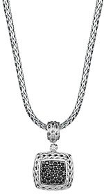 John Hardy Sterling Silver Classic Chain Medium Square Pendant with Black Sapphire