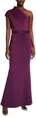 Badgley Mischka One-Shoulder High-Neck Belted Gown