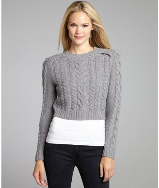 Magaschoni medium grey melange wool-blend fisherman cable knit sweater