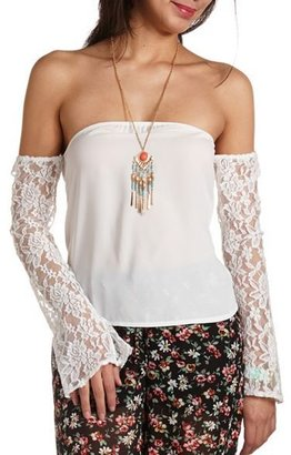Charlotte Russe Lace Sleeve Off-the-Shoulder Top