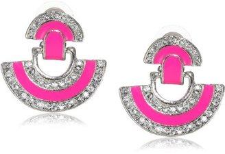 Yochi Design Yochi Pink Crystal Pendulum Swing Earrings