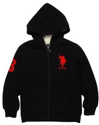 U.S. Polo Assn. Kids - Zip Up Hoodie With Sherpa Lining (Big Kids) (Black) - Apparel