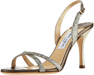 Jimmy Choo Glittered Crisscross Slingback