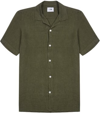 NN07 Miyagi Dark Green Linen Shirt
