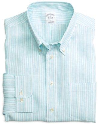 Brooks Brothers Slim Fit Double Alternating Stripe Linen Sport Shirt