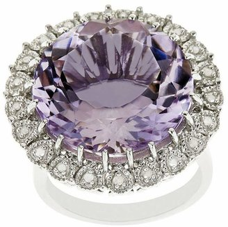 Sterling 15.00 cttw Amethyst & 1/10 cttw Diamond Ring